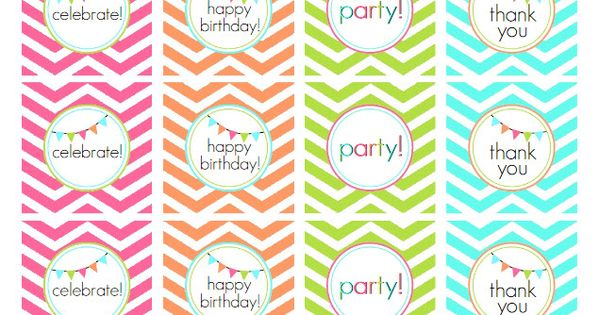 FREE printable happy birthday chevron tags!