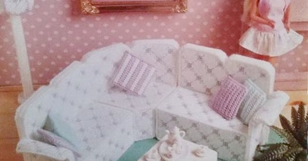 Rare Fashion Barbie Kelly Doll house LIVING ROOM Furniture Sectional Sofa Couch Lamp Rug Pillow ...