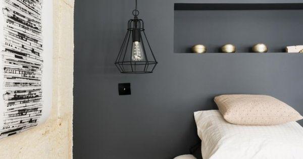 Chambre zen et cocooning avec mur peint en noir chambre - Mur peint en noir ...