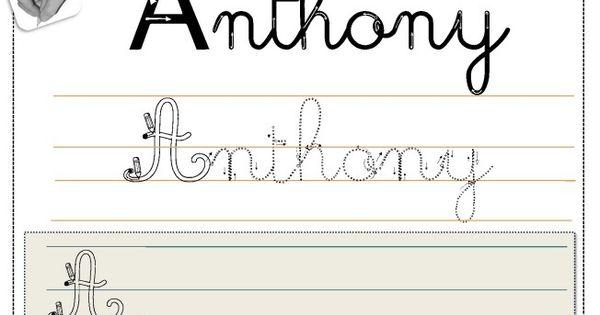 Matrice criture pr nom en cursive glisser dans une - Pot en 3 lettres ...