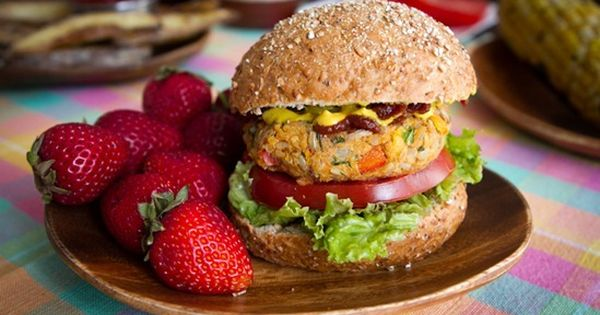 Spicy BBQ Chickpea Burgers. The BBQ sauce is the perfect touch.