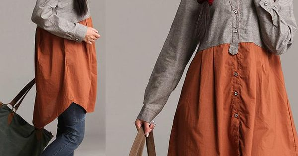 Autumn patchwork irregular gray longsleeved shirt by for Camisetas hippies caseras