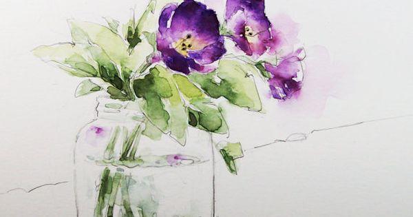 Aquarelle peinture impression fleurs violettes en verre for Bouquet fleuri