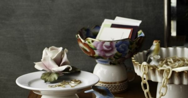 Pedestal dishes - using dishes you already own or flea market finds.