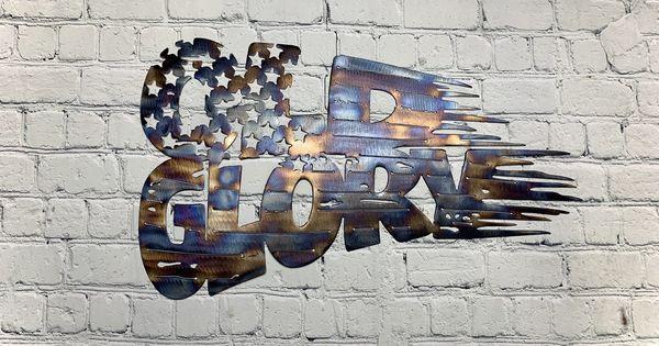 Metal Art 16 Gauge Steel In Flame Coloring Old Glory Tethered American Flag Wall Sign In 2020 Metal Art Art Wall Signs