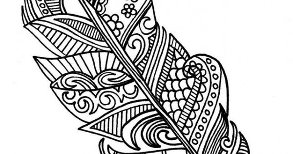 Free printable Feather coloring
