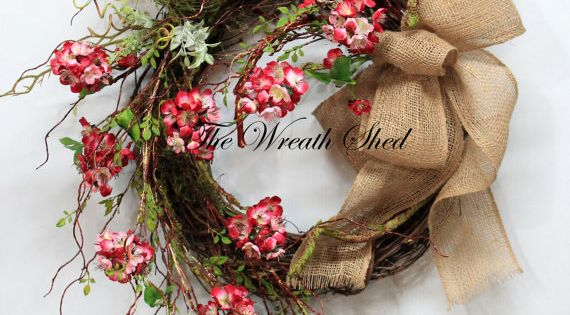 Unique Cherry Blossoms Country Spring Wreath Summer