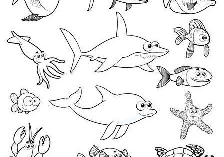 Familia De Peces Divertido Pez Para Colorear Fondo Marino Dibujo Humor De Pesca