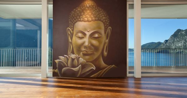 39 buddha 39 wall mural by inspire murals available at for Buddha mural wallpaper