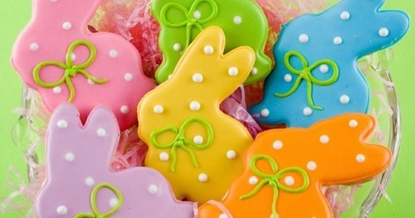 "Easter Cookies, Polka Dot Bunny Sugar Cookies (3"" size) - individually sealed."