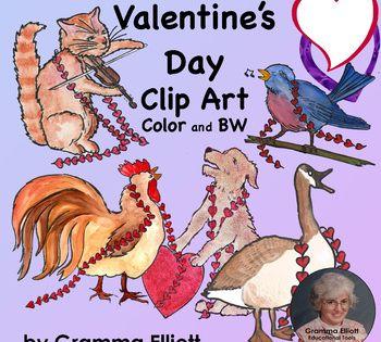 Valentine S Day Clip Art Color And Bw Clip Art Valentines Clip Valentine Clipart