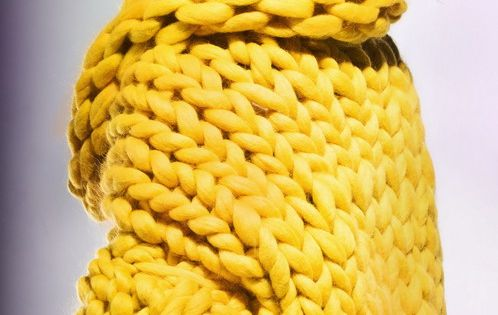 gilet grosse maille jaune moutarde ♥