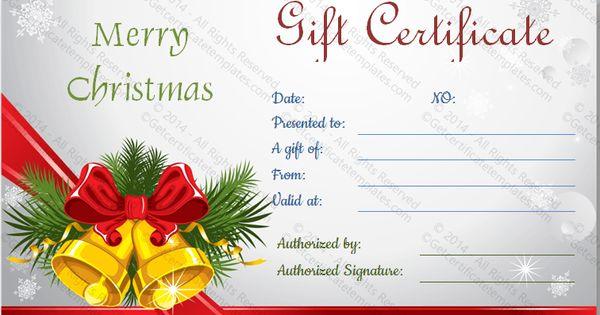 Gift Certificate Template – Free Christmas Gift Certificate Templates