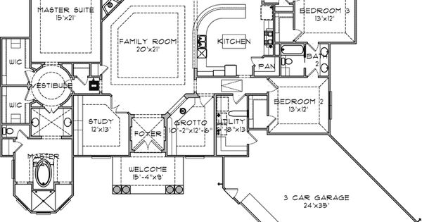 Grotto for a man cave florida style house plans 2915 for Man cave floor plans