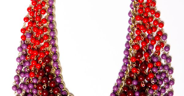 Fall necklace in shades of cranberry, purple and wine.