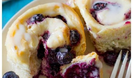 Soft, fluffy (and quick!) Blueberry Rolls with Sweet Lemon Glaze. Only 1