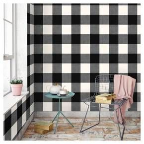 Buffalo Plaid Peel Stick Wallpaper Black Threshold In 2021 Peel And Stick Wallpaper Plaid Wallpaper Home Wallpaper