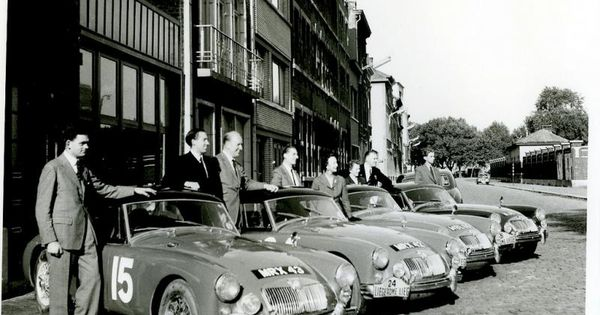 4 works mga 39 s ready for the liege rome liege rally of 1957 no16 3rd along driven by nancy. Black Bedroom Furniture Sets. Home Design Ideas
