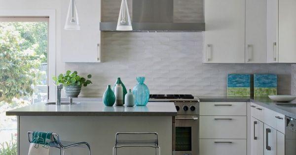 White textured subway tile backsplash interior design for Textured backsplash