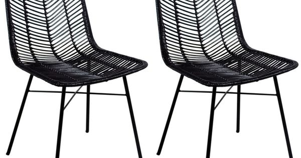 Rowico Maya Rattan Black Dining Chair Pair In 2020 Black Dining Chairs Rattan Dining Chairs Dining Chairs
