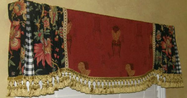 Custom Valance French Country Red Gold Rooster Tapestry