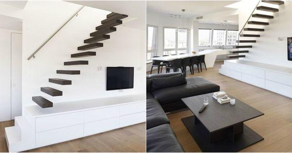 meuble tv bas et blanc de design