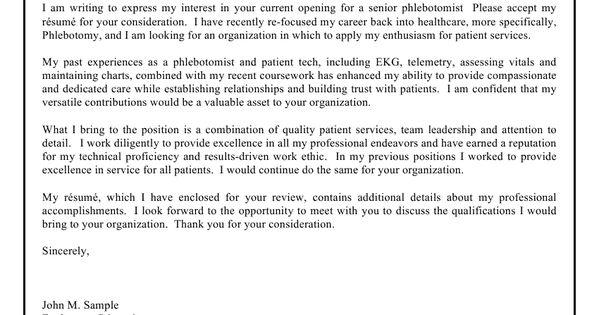 Phlebotomist Planner Cover Letter Sample