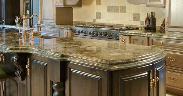 Kitchen Countertops Of Possibly Mombasa Granite, Dark