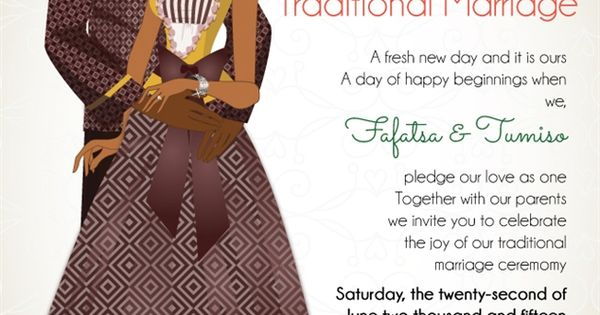 Cultural Wedding Invitations: South African Sotho Traditional Wedding Invitation Card