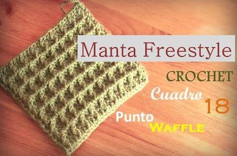 Manta A Crochet Freestyle Cuadro 18 Punto Waffle Diestro Tutorial Donde Aprender A Tejer El Punto Waffle A Crochet Circulos De Ganchillo Crochet Diy Croche