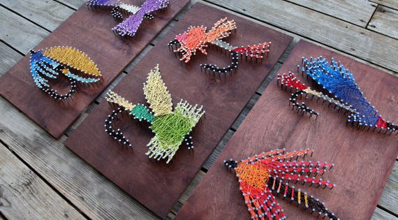 Fly fishing string arts colorful flies string por for Fish string art