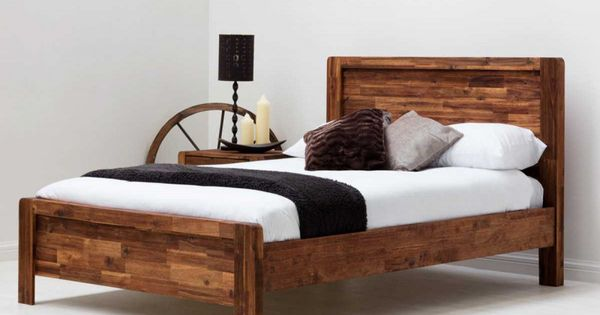 Chester Rustic Java Wooden Farmhouse Shaker Bed Frame Double
