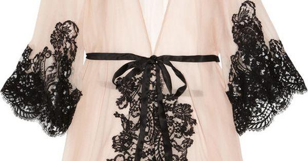 Rosamosario 'Mezza Luna' Silk Crepe and Lace Robe via the Lingerie Addict.