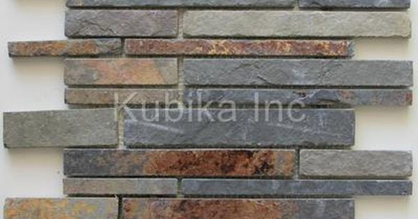 Satin Copper Slate : Stone mosaic tile kitchen backsplash multicolor slate