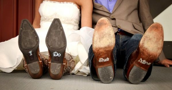 painting cowboy boots for wedding | Weddings - Rustic Weddings - Dress