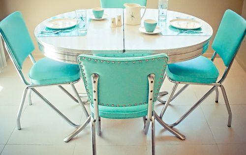 retro chrome table chairs turquoise chrome kitchen
