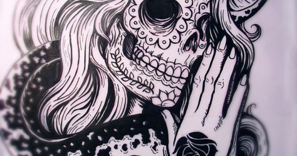 Sugar skull tattoo idea
