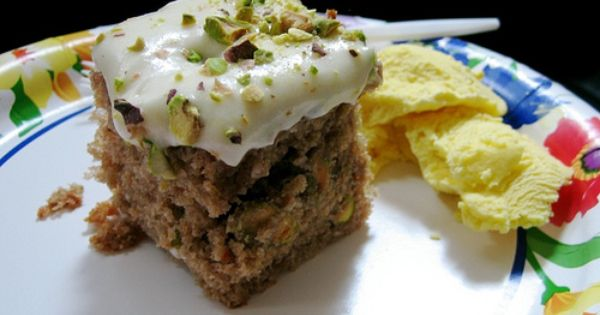 pistachio carrot cake and saffron coconut ice cream | good eats ...