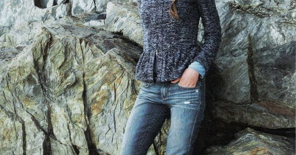 Casual fall outfit - crew neck sweater, denim, and camel boots