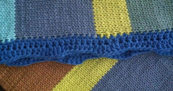 Baby Blanket Knitted Cotton (travel size) - Deep Blue Sea Crochet wave patt...