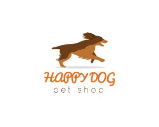 Happy Dog Logo Design Great Stylized Happy Dog In Run Logo Can Be Used For Various Type Of Business And Categories Pet Logo Design Dog Logo Design Dog Logo