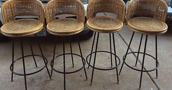 Vtg Set 4 Rattan Bamboo Cane Wicker Tiki Bar Stools IRON