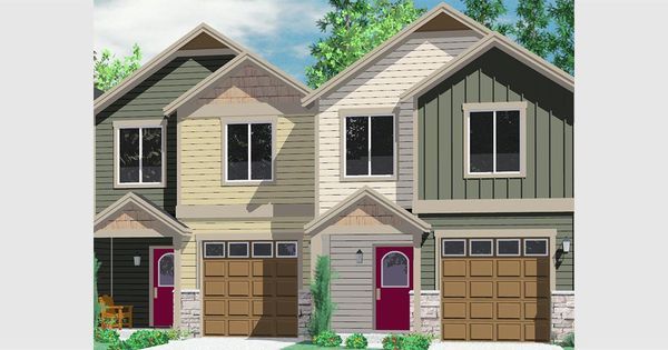 House front color elevation view for d 542 duplex house for Multi family house plans narrow lot