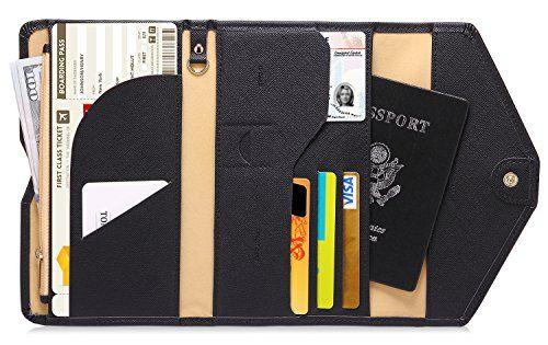 Genuine Leather RFID Blocking Travel Passport Wallet Card Holder Organizer Tri-fold Document Organizer Holder