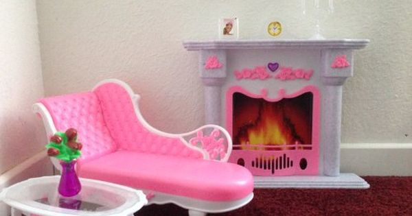barbie size dollhouse furniture living room fire place leisure chair gloria http amazoncom barbie size dollhouse