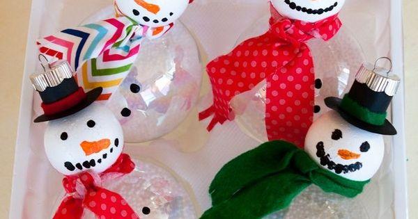 DIY Snowman ornament craft for kids using a ping pong ball! Super