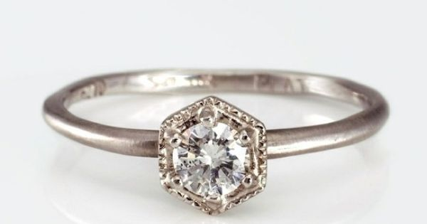Hexagon Ring with White Diamond. Simple and Elegant..... dream ring right there