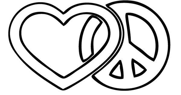 Love And Peace Sign Coloring Page