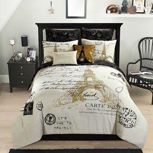 Glamorous Gold Black And White 8 Piece Full Paris Eiffel Tower