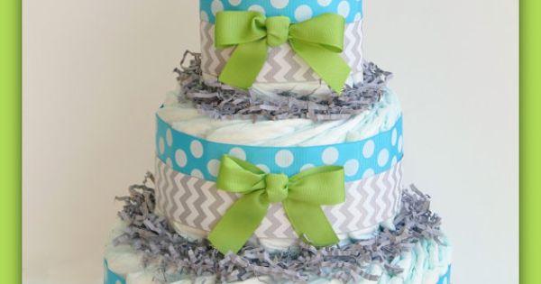 Boys Baby Shower ,Oh Baby Chevron Aqua Lime, Baby Diaper Cake, Baby